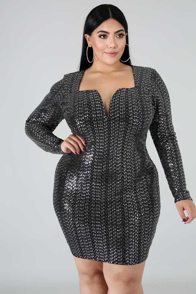 Plus Size Sequin Night Body-Con Dress BLACK