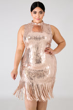 Plus Size Sequin Shine Fringe Dress GOLD