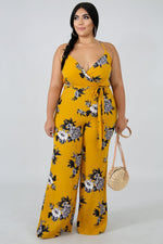 Plus Size Sharon Floral Jumpsuit MUSTARD