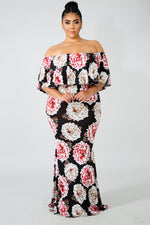 Plus Size Sky Bloom Maxi Dress MULTI PRINT
