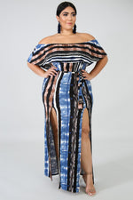 Plus Size Sky Dye Slit Maxi Dress BLUE