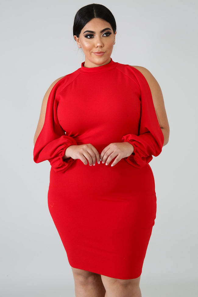 Plus Size Slits Body-Con Dress RED