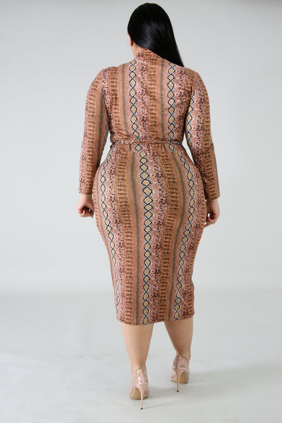 Plus Size Snakeskin Dress BROWN