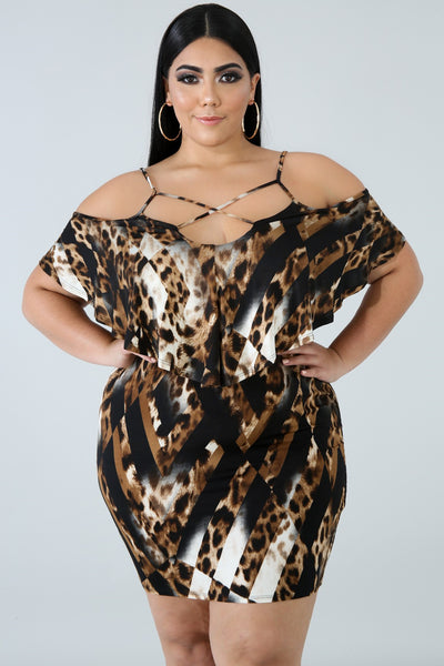 Plus Size Staying On Point Dress LEOPARD