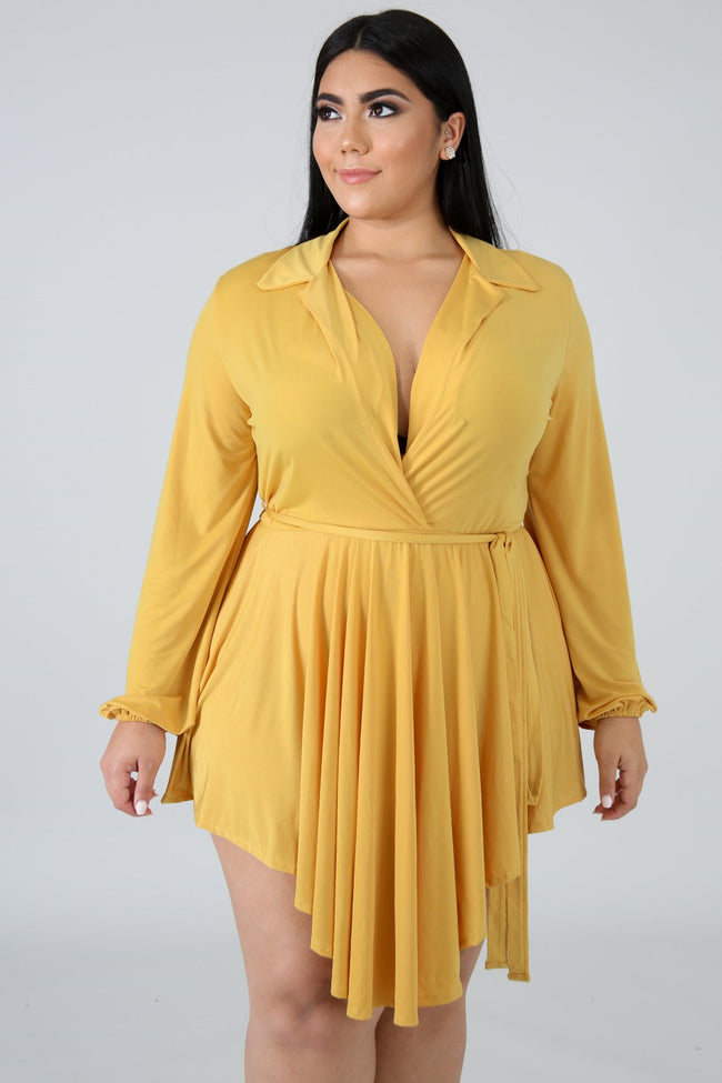 Plus Size Streaks Mini Dress MUSTARD