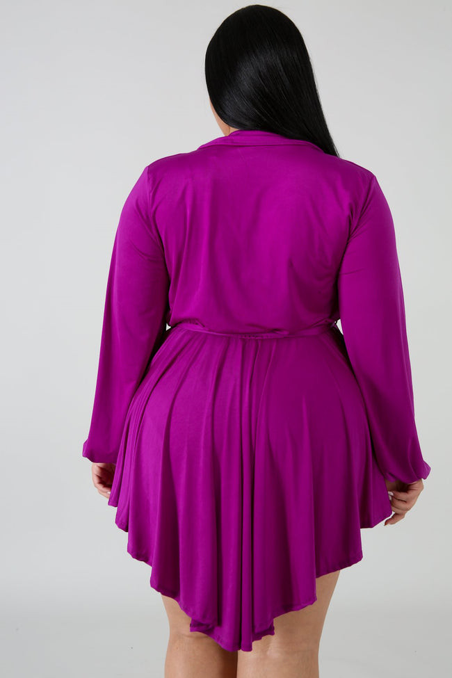 Plus Size Streaks Mini Dress PURPLE