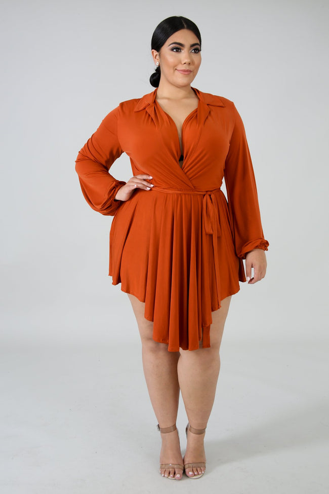Plus Size Streaks Mini Dress RUST