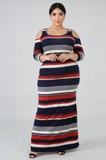 Plus Size Stripe Cold Shoulders Maxi Dress MULTI PRINT