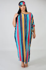 Plus Size Stripe Maxi Tunic MULTI PRINT