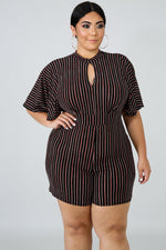 Plus Size Stripe Pick Romper BLACK