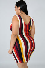 Plus Size Stripe Surplice Body-Con Dress MULTI PRINT