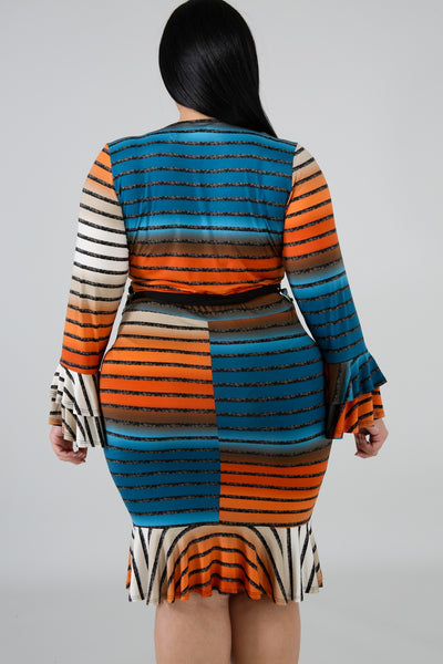 Plus Size Striped Catch Me On The Dance Floor Dress MULTI PRINT