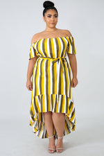 Plus Size Striped Off Shoulder Dress YELLOW