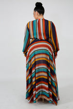 Promised Stripes Sheer Maxi Dress RED