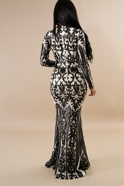 Queen Sequin Maxi Mermaid Dress BLACK