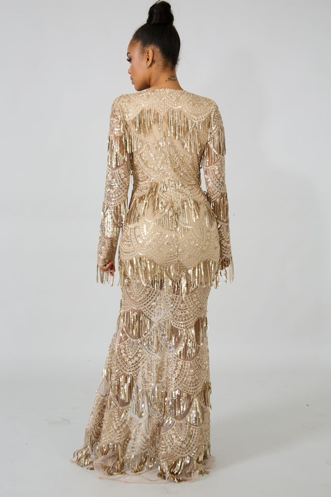 Queen Sequin Mermaid Dress GOLD