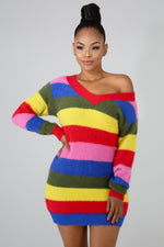 Rainbow Knit Dress MULTI PRINT