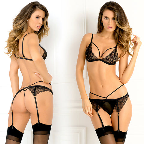 Rene Rofe Female 3Pc Crave Me Bra Garter G Set 532129