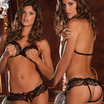 Rene Rofe Female Lace Peek A Boo Bra/Panty Set 532008