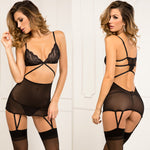 Rene Rofe Female Lace Top Garter Chemise & G-String Set 512116