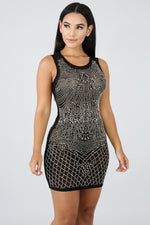 Rhinestone Glam Drop Body-Con BLACK