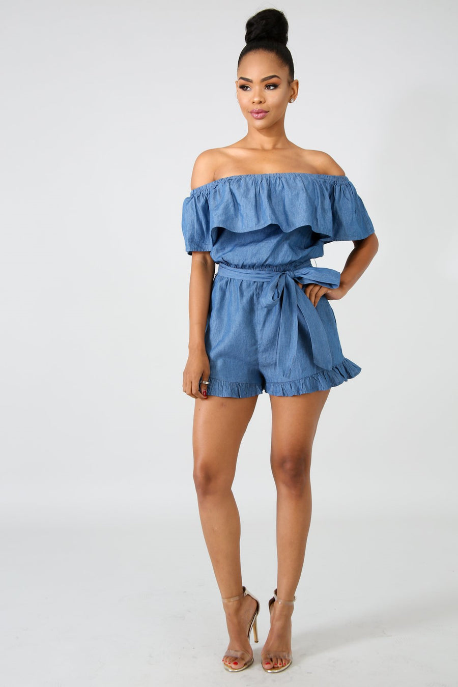 Ruffles Denim Romper DENIM