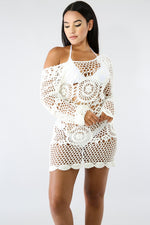 Scallop Crochet Dress WHITE
