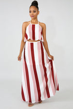 Scallop Stripe Maxi Set MAUVE