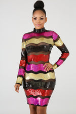 Sequin Color Stripe Body-Con Dress FUSCHIA