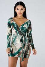 Sequin Print Dye Dress MULTI PRINT