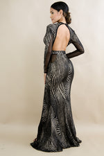 Sequin Sheer Trim Maxi Dress BLACK
