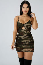 Sheer Scrunch Camouflage Dress OLIVE
