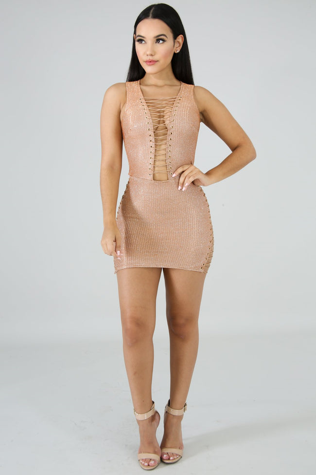 Shine Straps Mini Dress BROWN