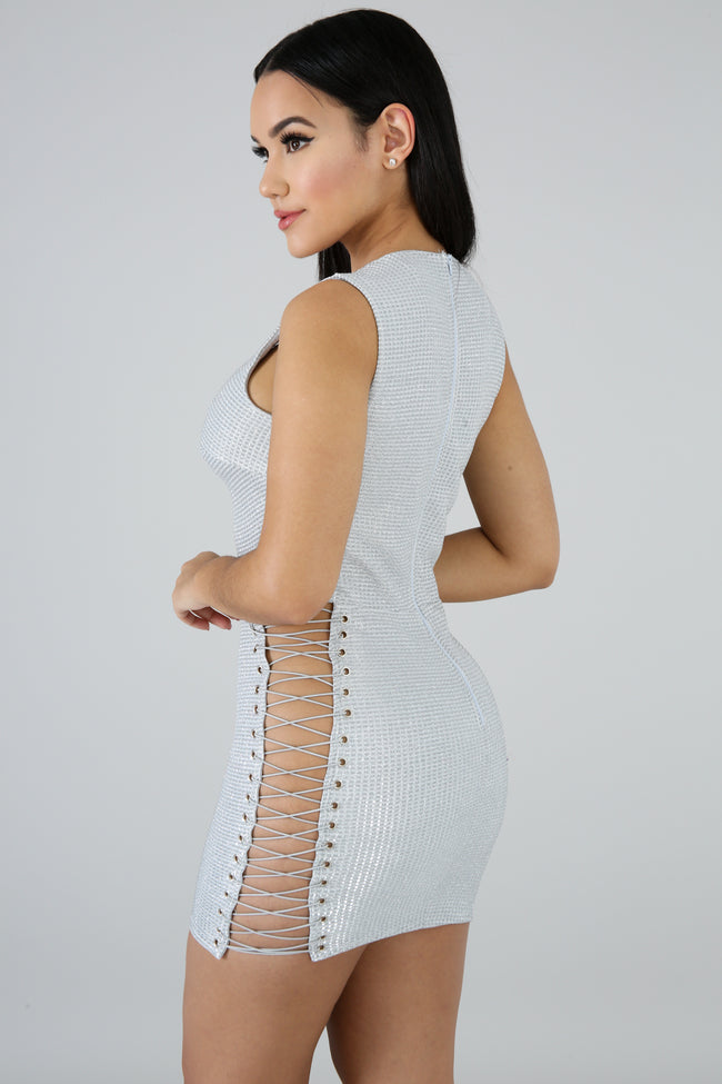 Shine Straps Mini Dress SILVER