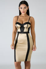 Silky Body-Con Dress TAUPE
