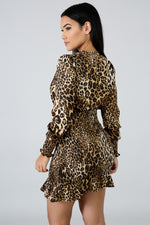 Silky Cheetah Accordion Dress BROWN