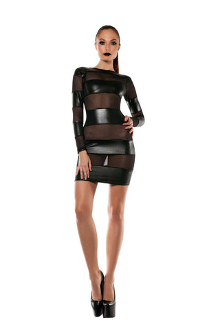 Starline Strapped Down Mesh Blocked Dress