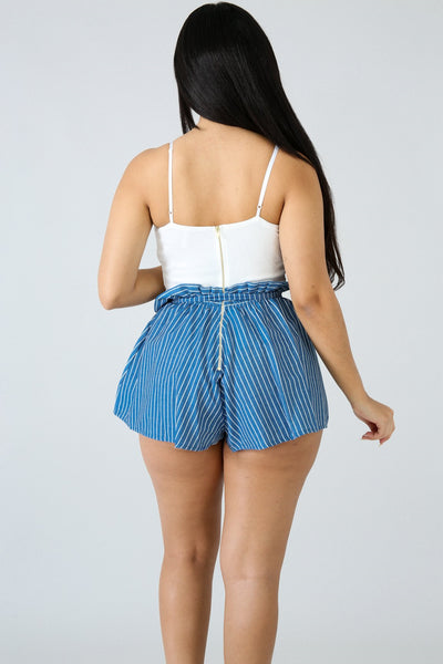 Stripe Sash Romper DENIM