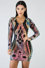 Stripe Sequin Dress MULTI PRINT