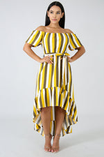 Striped Off Shoulder Dress YELLOW