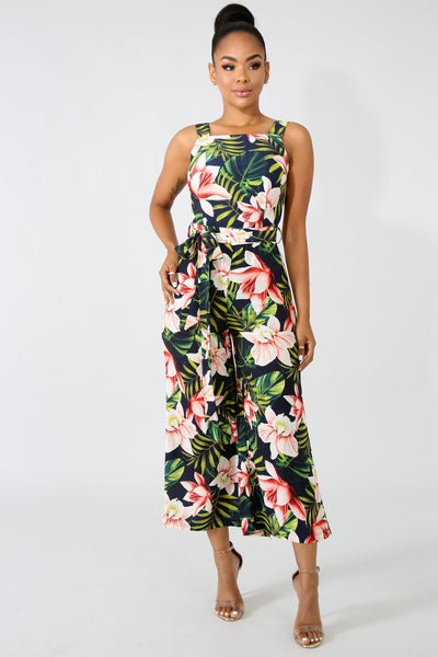 Tropical Palms Palazzo Jumpsuit NAVY