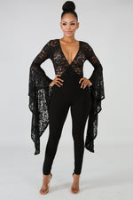 Trumpet Sequin Lace Jumpsuit BLACK