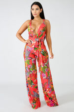 Twist Floral Jumpsuit RED