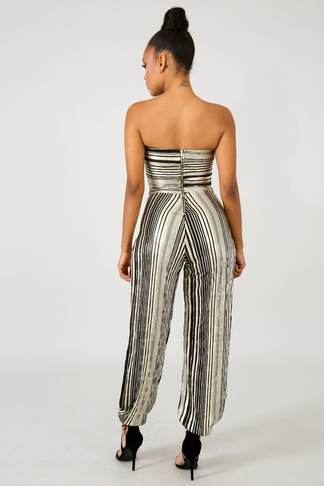 Twist Slit Shine Jumpsuit GOLD