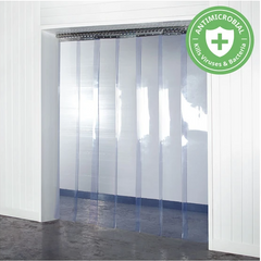 PVC Strip Curtains hanging in a doorway