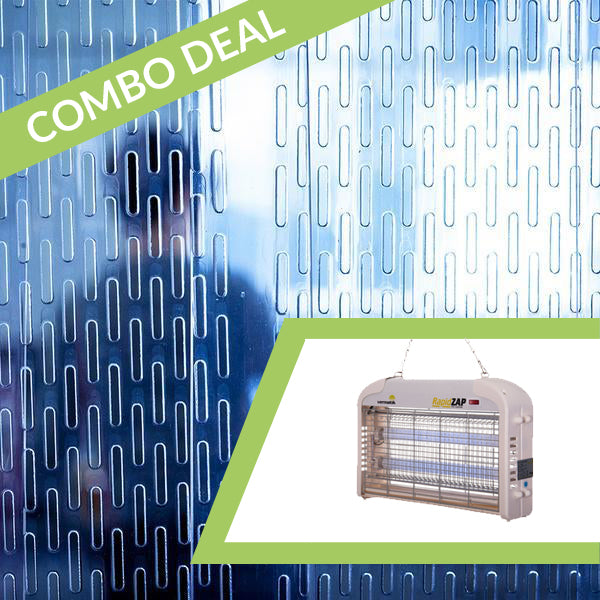 COMBO DEAL *SAVE!* - Vermatic Rapidzap 16W Electric Fly Zapper + 1m x 2m Perforated PVC Strip Curtains