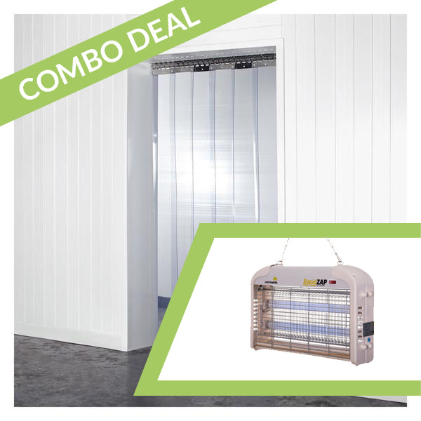 COMBO DEAL *SAVE!* - Vermatic Rapidzap 16W Electric Fly Zapper + 1m x 2m Standard PVC Strip Curtains