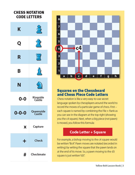 Yellow Belt Chess Lesson Book