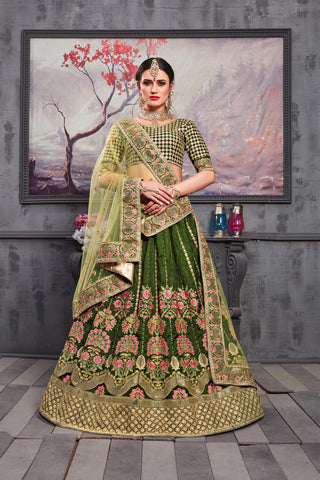Orange Green Net Brocade Lehenga Choli
