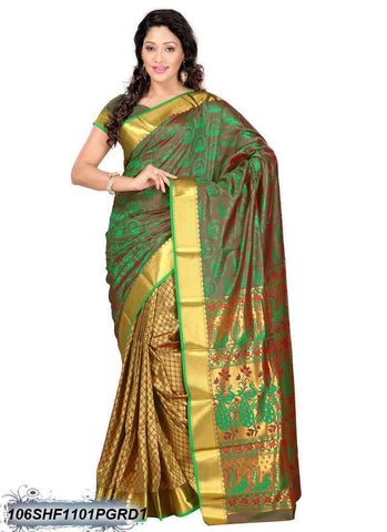 Green ,Brown Kanchivaram Silk Sarees